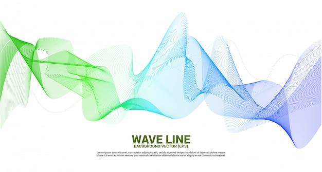 Зеленый и синий звуковая волна линия кривой на белом фоне. элемент для темы технологии футуристический вектор