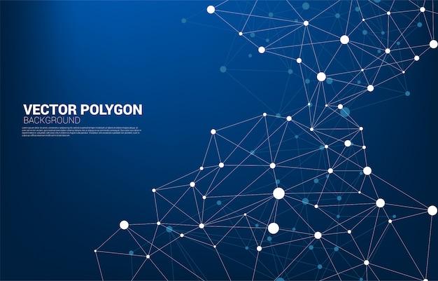 ネットワーク接続ドットポリゴンの背景。ネットワークビジネス、テクノロジー、データ、化学。ドット接続線の抽象的な背景は未来的なネットワークとデータ変換を表します