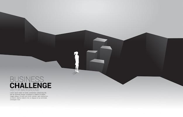 谷に立っている実業家のシルエット。ビジネスの挑戦と勇気の男の概念