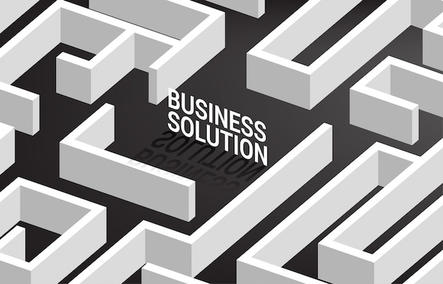 Бизнес-решение в центре лабиринта. бизнес-концепция для решения проблем и маркетинговая стратегия решения