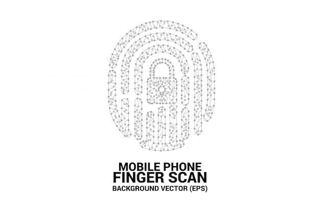Значок отпечатка пальца от точки и линии стиль печатной платы.