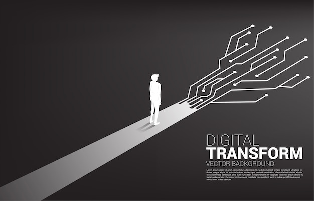 Бизнесмен силуэта стоя на пути с точкой соединяет линию цепь. цифровая трансформация бизнеса.