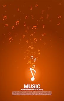 Музыка мелодия нота танцевальный поток.