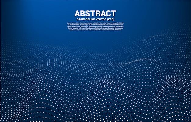 青色のデジタル輪郭曲線の点と線とワイヤーフレームの波