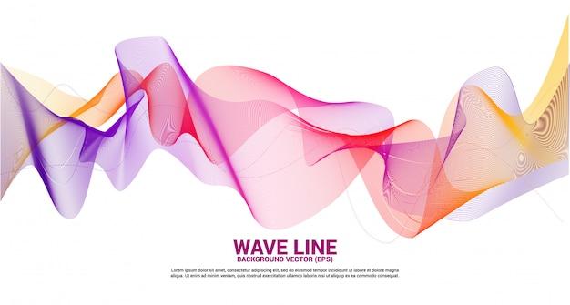白地に紫の赤の音波の曲線。テーマ技術の未来的なベクトルの要素