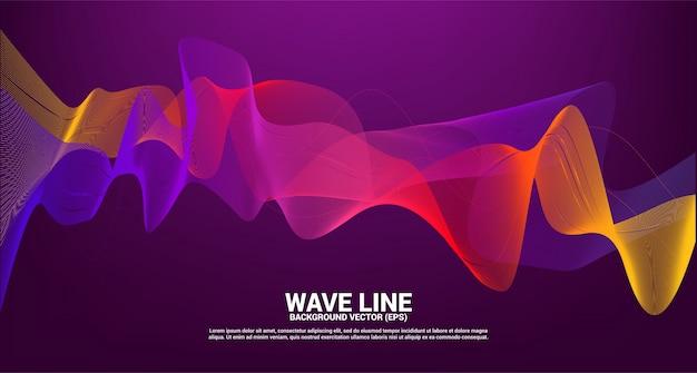 暗い背景に紫の赤い音波線曲線。テーマ技術の未来的なベクトルの要素