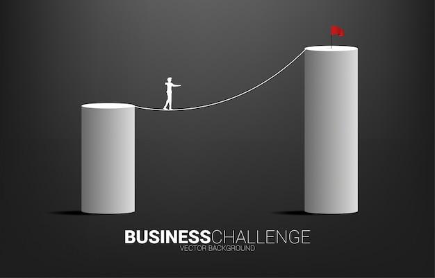 Силуэт бизнесмена идя на путь прогулки веревочки к более высокой диаграмме в виде вертикальных полос.