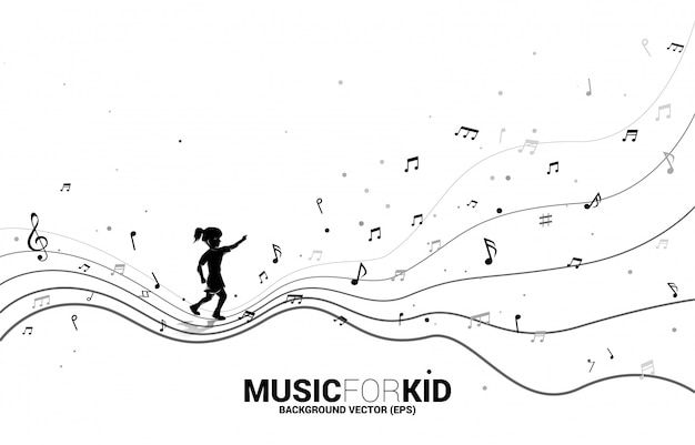 Силуэт девушки, работающей с танцевальным музыкальным примечанием формы потока. концепция фоновой музыки для малыша и детей.