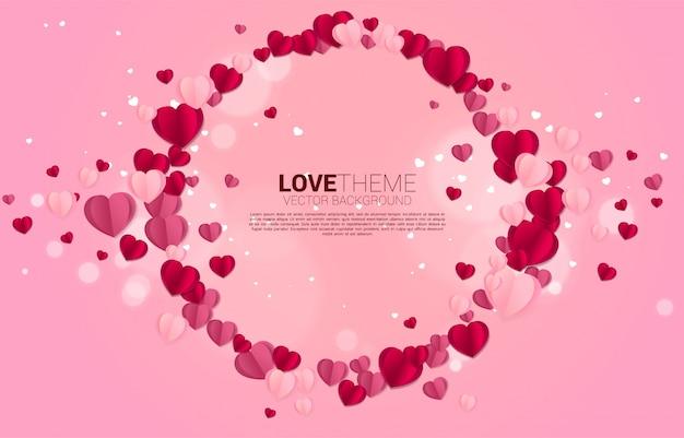 心紙アートフライングサークルフレームグラフィック背景コンセプト。バレンタインデーと愛のテーマ