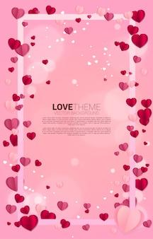 正方形のフレームコンセプトを飛んでハートペーパーアート。バレンタインデーと愛のテーマとポスター