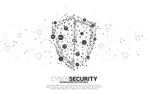 Щит защиты от сети многоугольника технологии точка подключения и значок конфиденциальности и платежных данных. концепция кибер и интернет-безопасности.