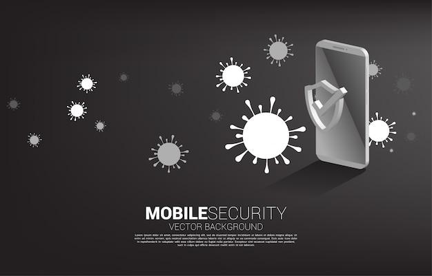 デジタルウイルスと携帯電話と保護シールドアイコン。モバイルガードセキュリティとサイバー安全の概念
