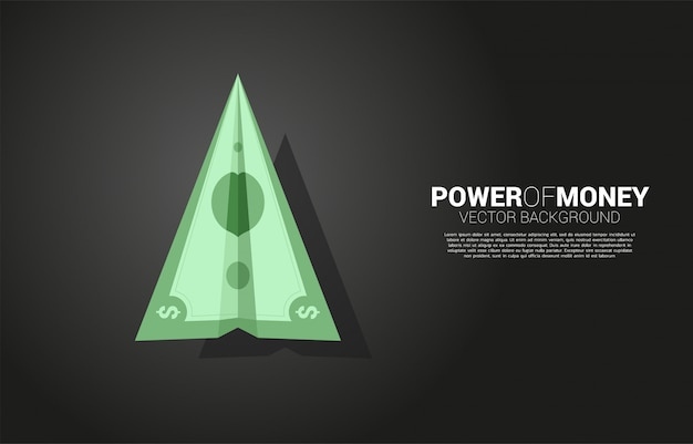 Бумажный самолетик из банкноты денег. бизнес-концепция темы финансового движения.