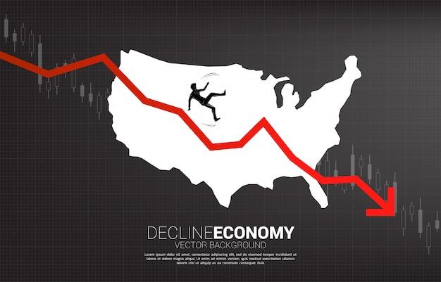 ビジネスマンスリップのシルエットと米国のマップと下降グラフから落ちる。アメリカの衰退経済の概念。