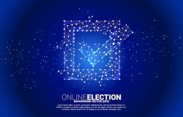 Значок флажка от точки подключения линии многоугольника сети. концепция избирательного голосования