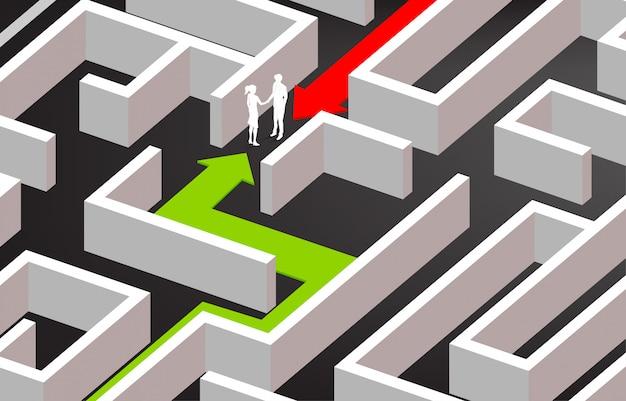 迷路の中でビジネスマン握手のシルエット。ビジネスマッチングの概念。チームワークのパートナーシップと協力。