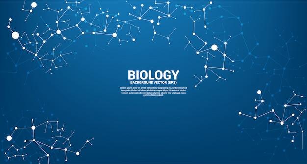 青の背景にドット線分子を接続するネットワークライン。生物学の化学と科学の概念。