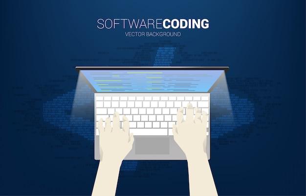 実業家の手は、コンピューターのノートブックをクリックします。コンピューターのコーディングとプログラミングの概念。