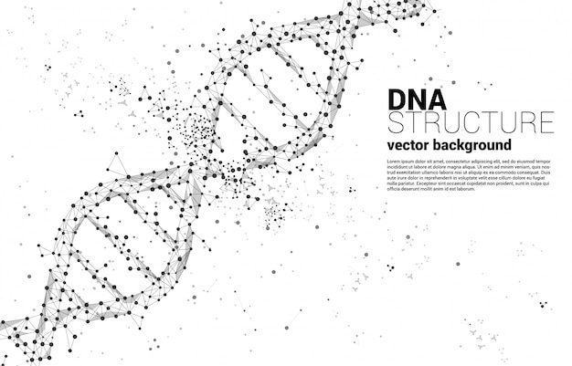 Генетическая структура днк от точки соединяет многоугольник. фон концепции для биотехнологии и биологии научных.