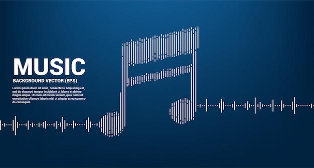 音楽と音の技術コンセプト。音符としてのイコライザー波