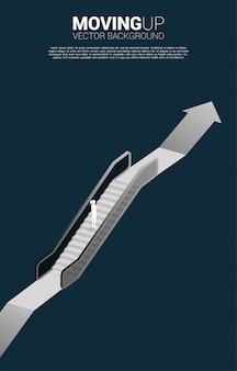 Силуэт бизнесвумен, двигаясь вверх по эскалатору на растущем графике. концепция карьерного роста и роста бизнеса.