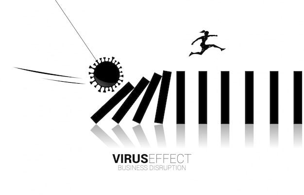 コロナウイルスの影響から崩壊ドミノに飛び降りる実業家のシルエット。事業の混乱とパンデミックによるドミノ効果のビジネスコンセプト。