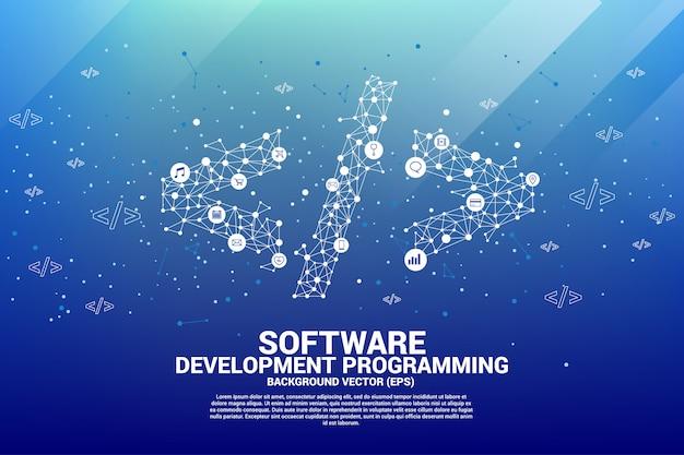 ドット接続ラインと機能を備えたポリゴンソフトウェア開発プログラミングタグ