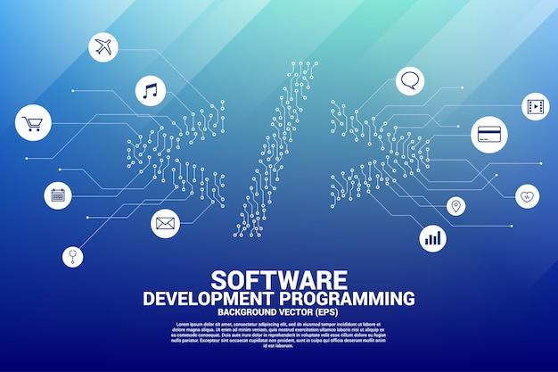 ベクトルドットは、ライン回路基板スタイルのソフトウェア開発プログラミングタグアイコンを接続します。