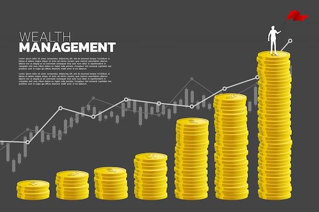 フラグの立っている実業家のシルエットと成長のグラフとコインのスタック