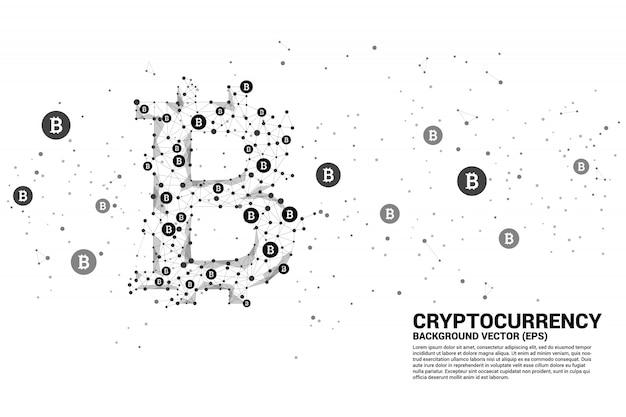 ポリゴンドット接続線からのベクトルビットコインアイコン。暗号化技術のコンセプト
