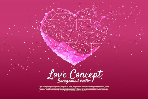 多角形のドットを持つハートは線のスタイルを接続します。バレンタインデーと愛のテーマのバナーとポスター