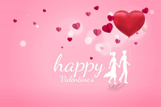 バルーンハート背景を歩いて手を握って恋人カップル
