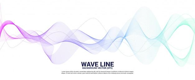 青と緑の白い背景の上の音波の曲線。