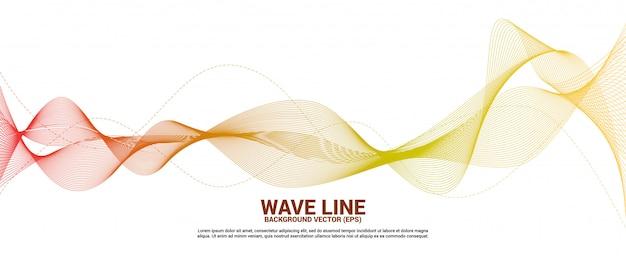 白地に赤とオレンジ色の音波の曲線。