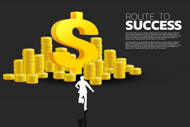ドルのお金のアイコンとコインのスタックを実行している実業家のシルエット。成功ビジネスとキャリアパスの概念。