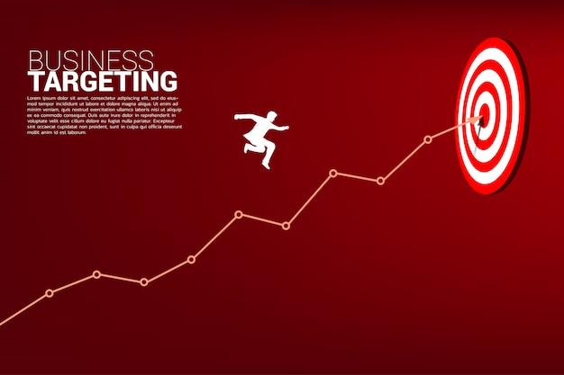 Бизнесмен прыгает на линейный график в центр дартс.