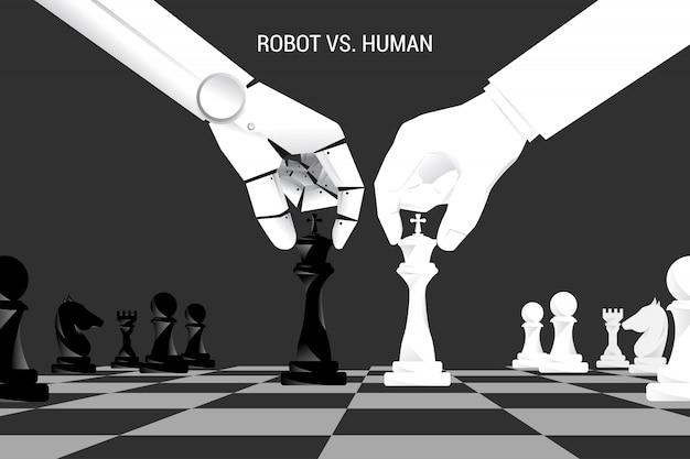 Рука робота и человека двигают шахматы на борту.
