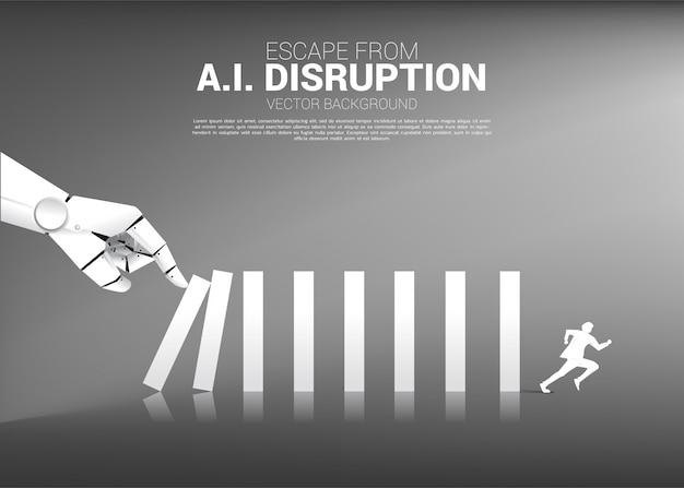 ビジネスマンはロボットの手からドミノ効果から逃げる。