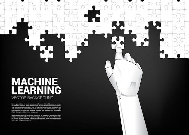 ロボットの手がジグソーパズルを置きます。