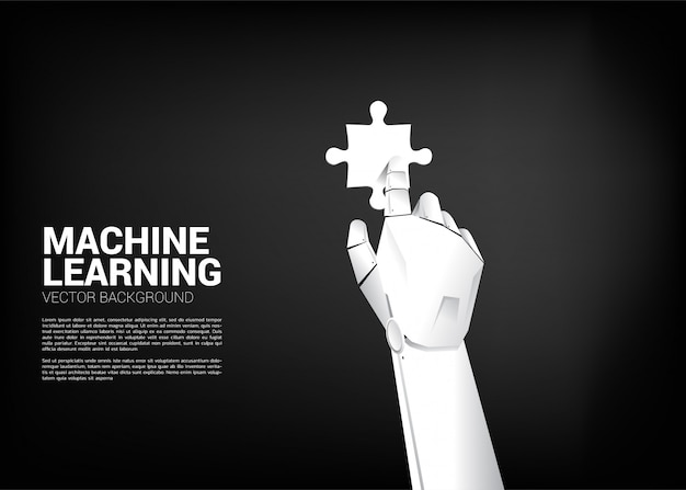 ロボットの手がジグソーパズルに触れます。機械学習と人工知能のためのビジネスコンセプト