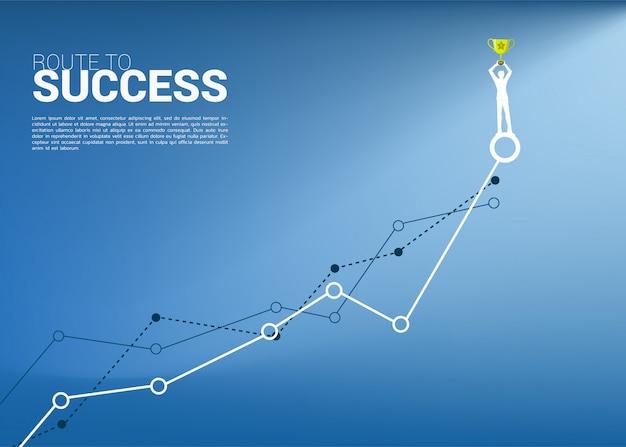 成長グラフの上にチャンピオントロフィーを持ったビジネスマンのシルエット。