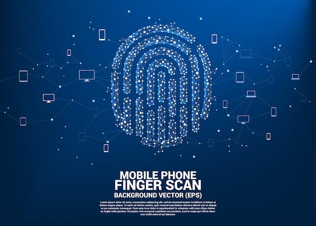 ドットからのベクトル拇印は、複数の通信デバイスとラインポリゴンを接続します。