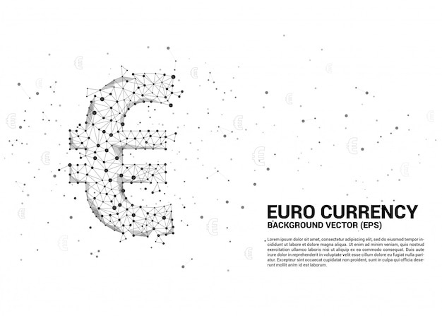 多角形のドット接続線からベクトルお金ユーロ通貨