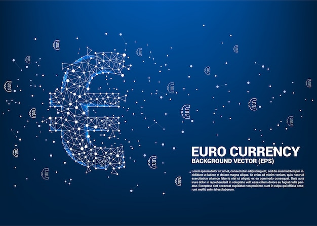 多角形のドット接続線からベクトルお金ユーロ通貨記号。