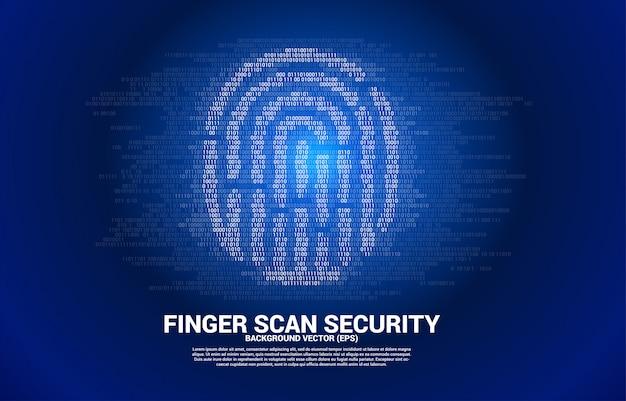 Вектор значок отпечатка пальца от одного и нулевого двоичного кода. концепция технологии сканирования отпечатков пальцев и конфиденциальности.