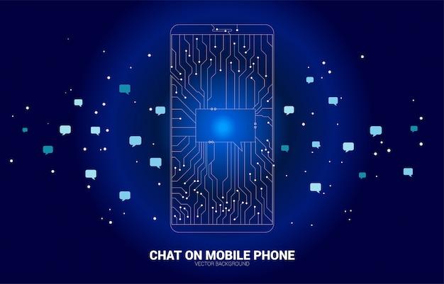 Пузырь болтовни вектора на мобильном телефоне от точки соединяет линию стиль монтажной платы. концепция коммуникационной сети и чат-бот технологии.