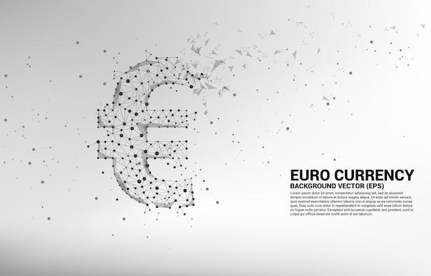 多角形のドット接続線からベクトルお金ユーロ通貨アイコン。ヨーロッパの金融ネットワーク接続のための概念。