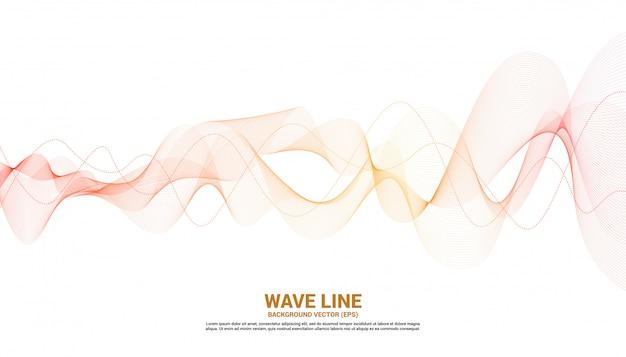 白い背景の上のオレンジ色の音波波曲線。テーマ技術未来的なベクトルの要素