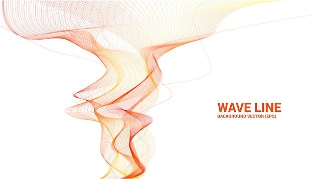 白い背景の上のオレンジ色の音波波曲線