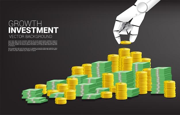 ロボットハンドスタックコインと紙幣のお金。経済と投資とビジネスの成長における概念機械学習